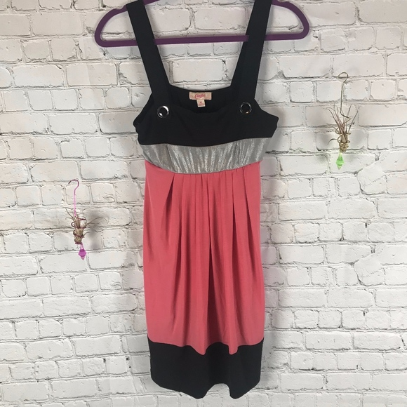 Candie's Dresses & Skirts - Candie's Pink Striped Shimmer Tank Dress Size M